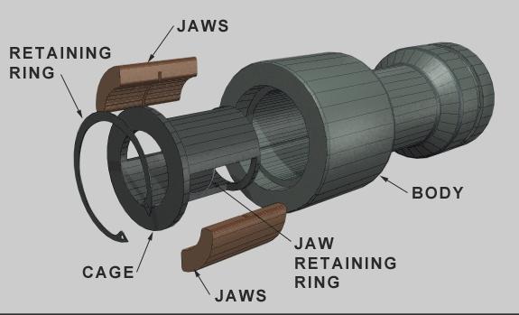 Studpuller snitt med komponenter